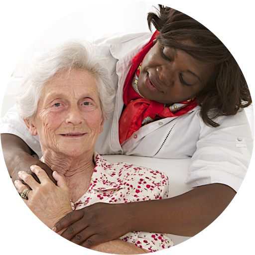 passionate caregiver with her old patient